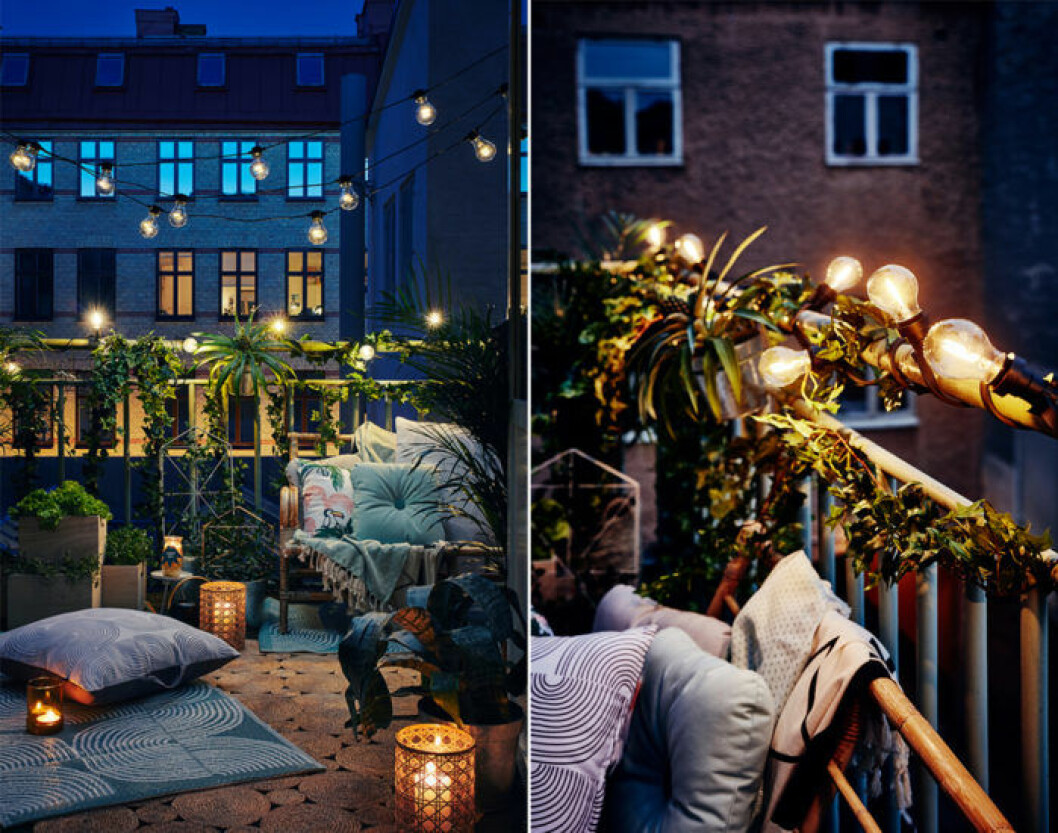Cosy balcony with plants and string lights.