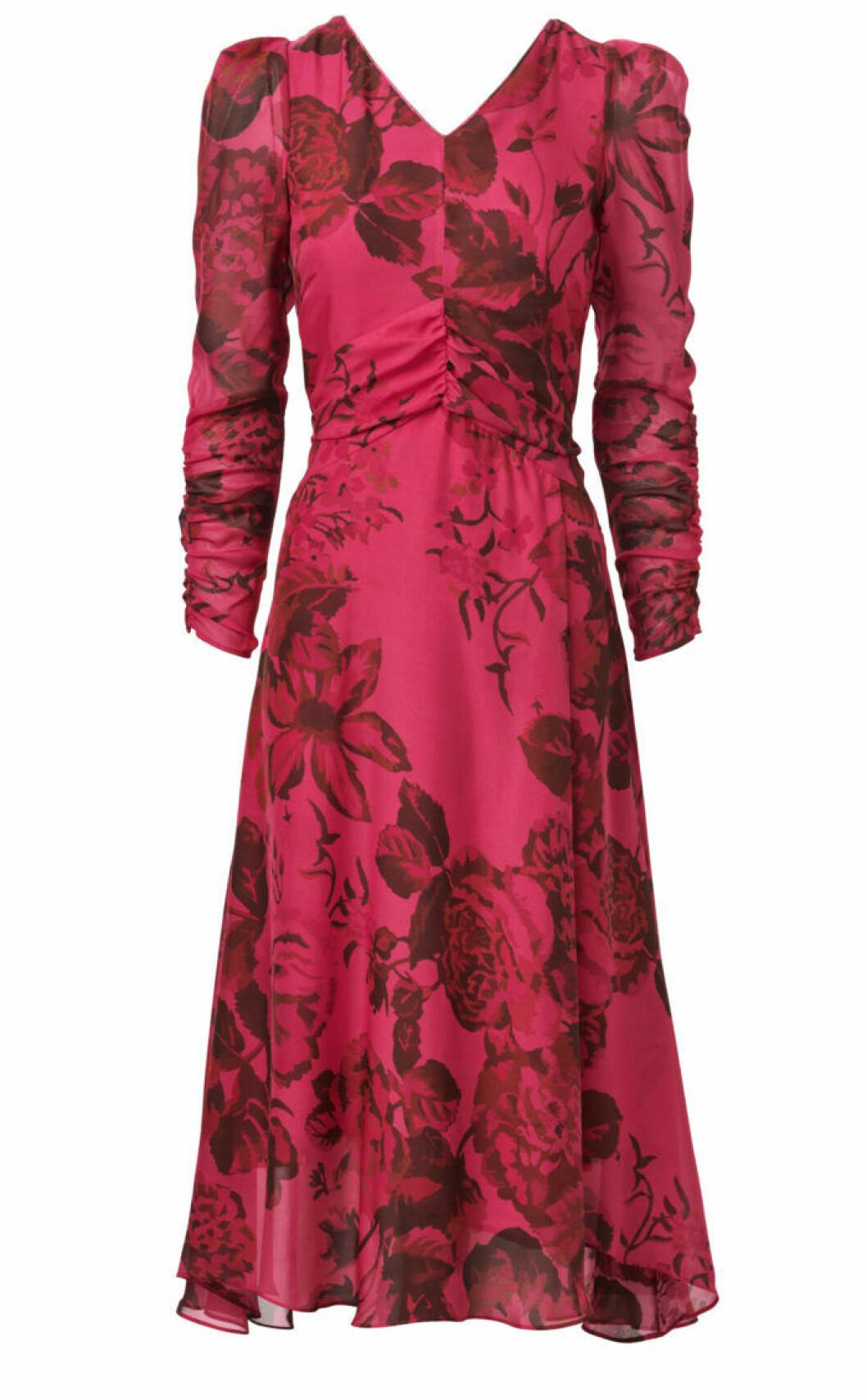 Rosblommig klänning med lång ärm