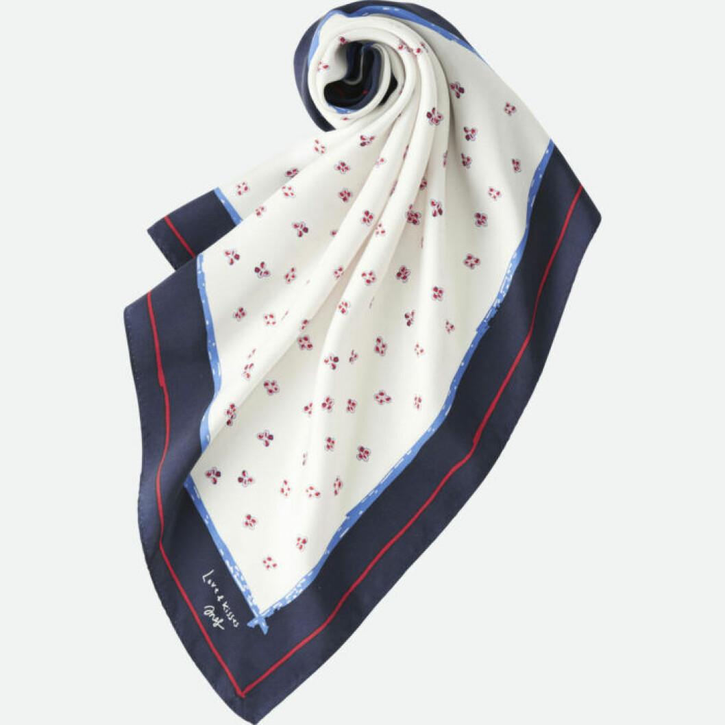 Mönstrad sjal i de franska färgerna marinblått, vitt och rött.