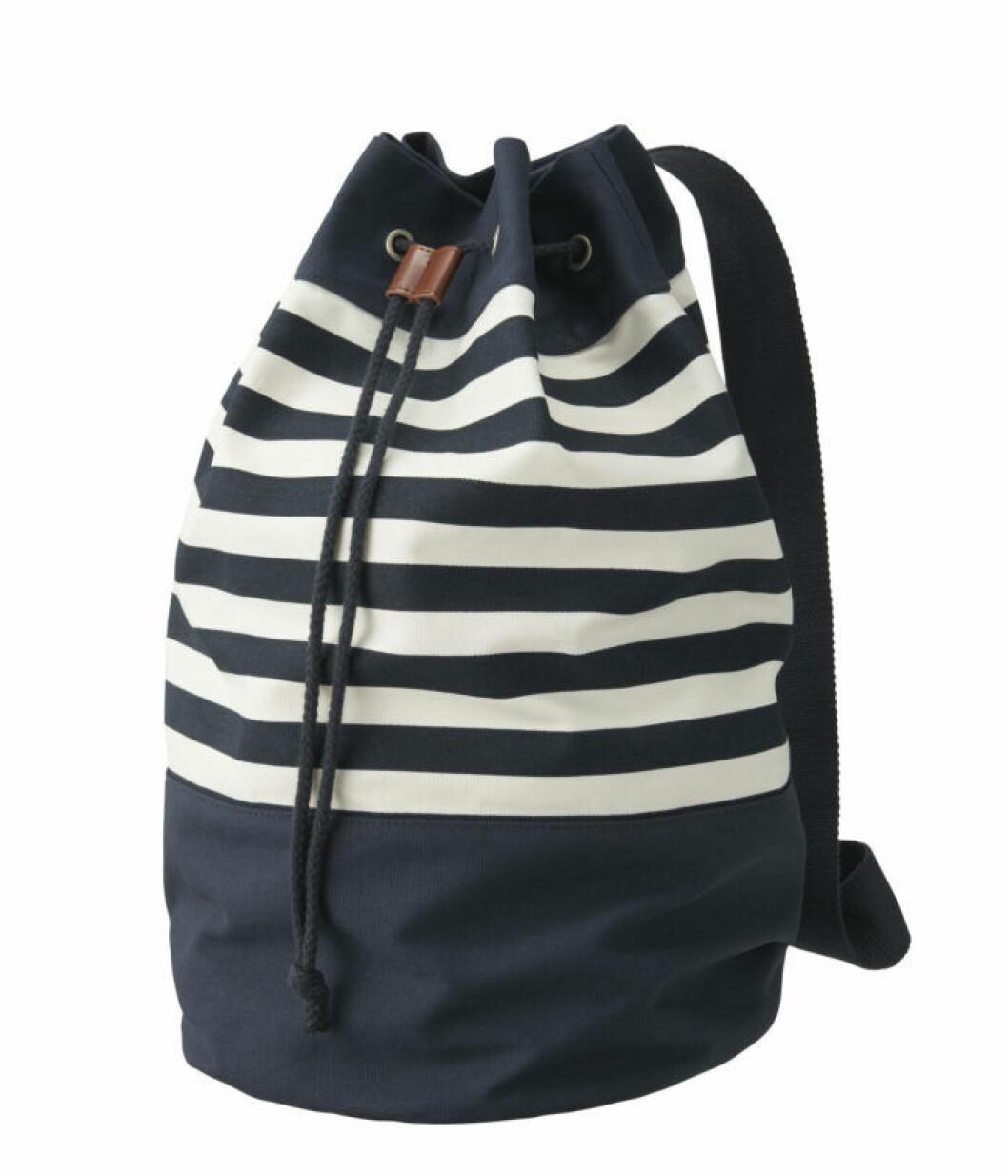 Randig ryggsäck med dragsko i canvas