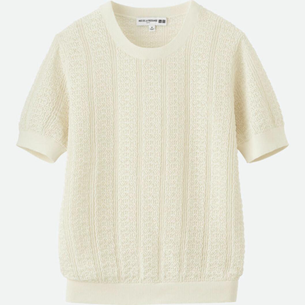 Stickad vit jumper med kort ärm