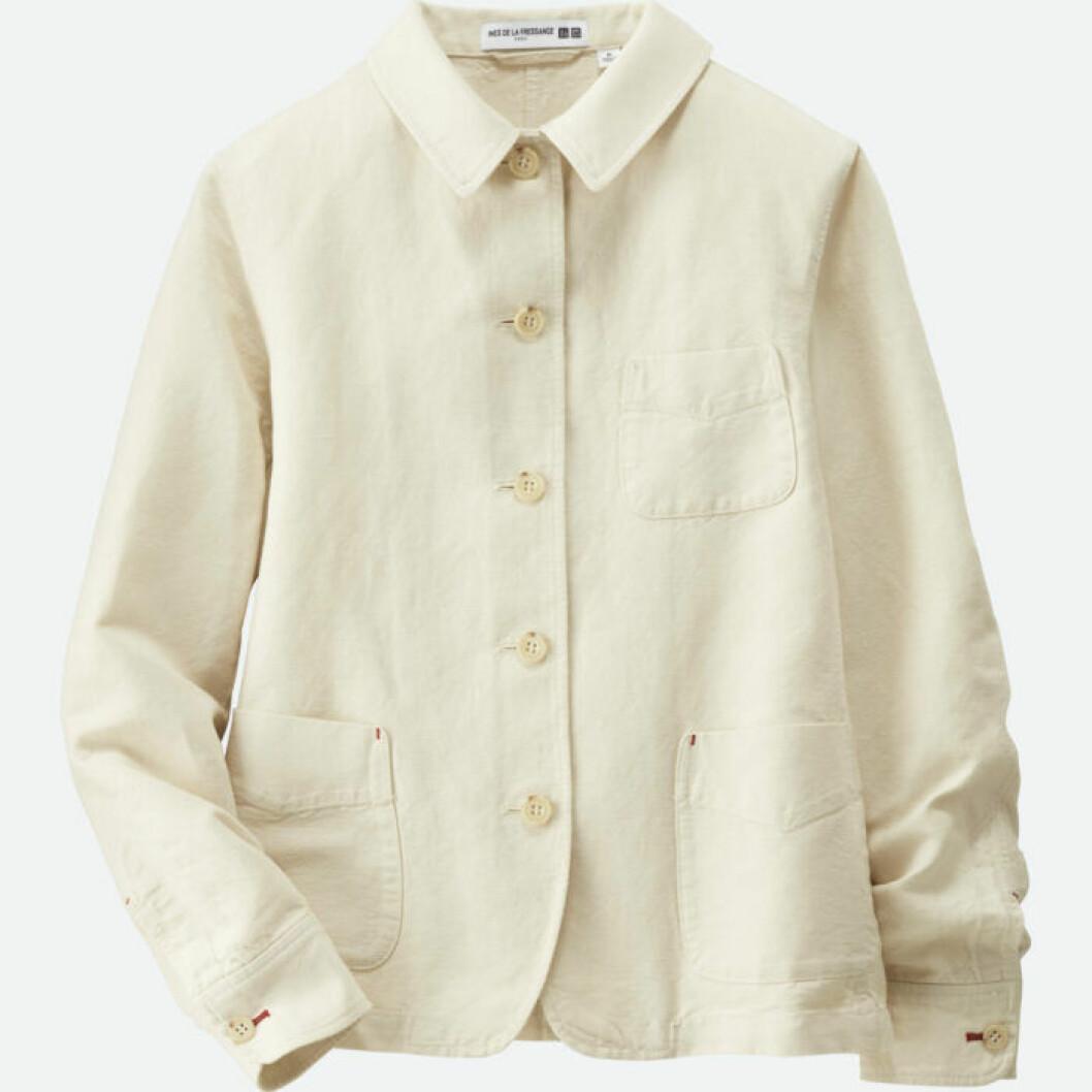 Vit jacka i linne och bomull i skjortmodell med fickor