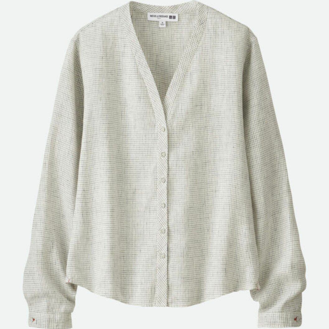Kraglös grårutig skjorta med v-ringning
