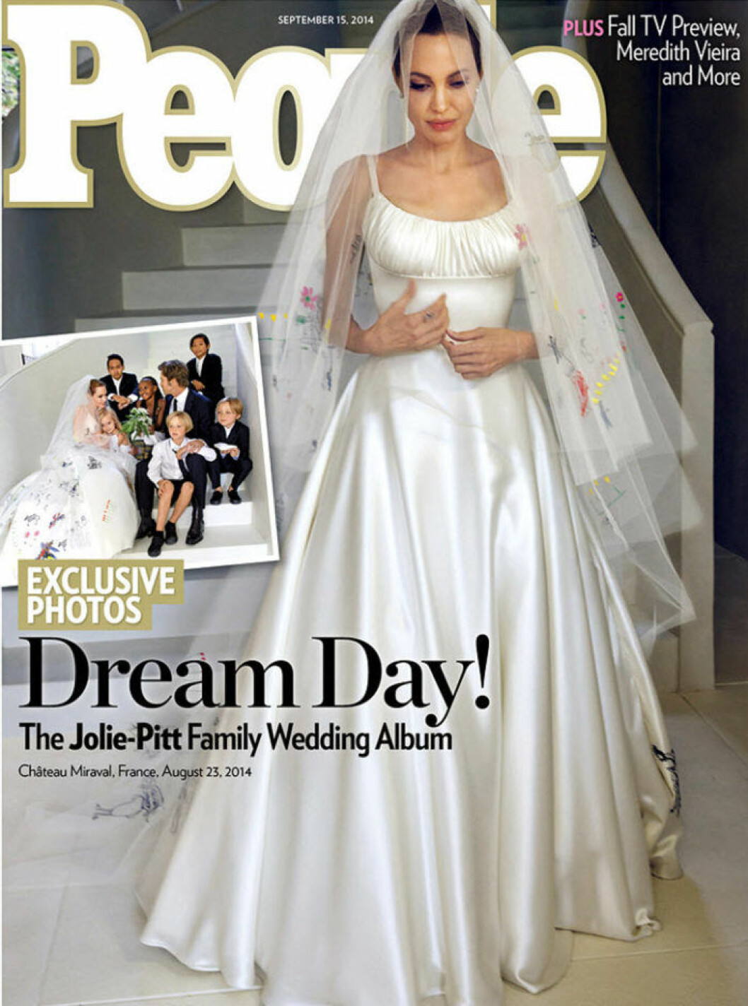 The cover of People magazine, dated 15th September, 2014, featuring the wedding of Angelina Jolie to Brad Pitt. When: 02 Sep 2014 Credit: Supplied by WENN.com **WENN does not claim any ownership including but not limited to Copyright, License in attached material. Fees charged by WENN are for WENN's services only, do not, nor are they intended to, convey to the user any ownership of Copyright, License in material. By publishing this material you expressly agree to indemnify, to hold WENN, its directors, shareholders, employees harmless from any loss, claims, damages, demands, expenses (including legal fees), any causes of action, allegation against WENN arising out of, connected in any way with publication of the material.**