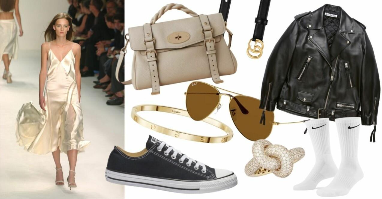 Ett urval av klassiska modeikoner i ett collage. Skinnjacka från Acne, väska från Muberry, skärp från Gucci, solglasögon från Ray ban, Sneakers från Converse, armband från Cartier, ring från Engelbert, strumpor från Nike. Modellbild från Calvin Klein. Modell i slipklänning.
