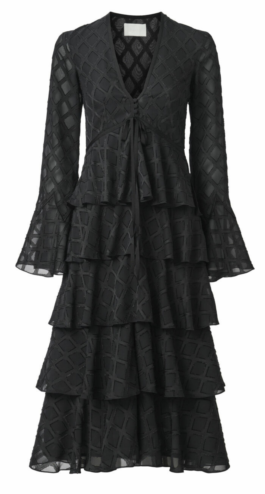 svart klänning med volanger
