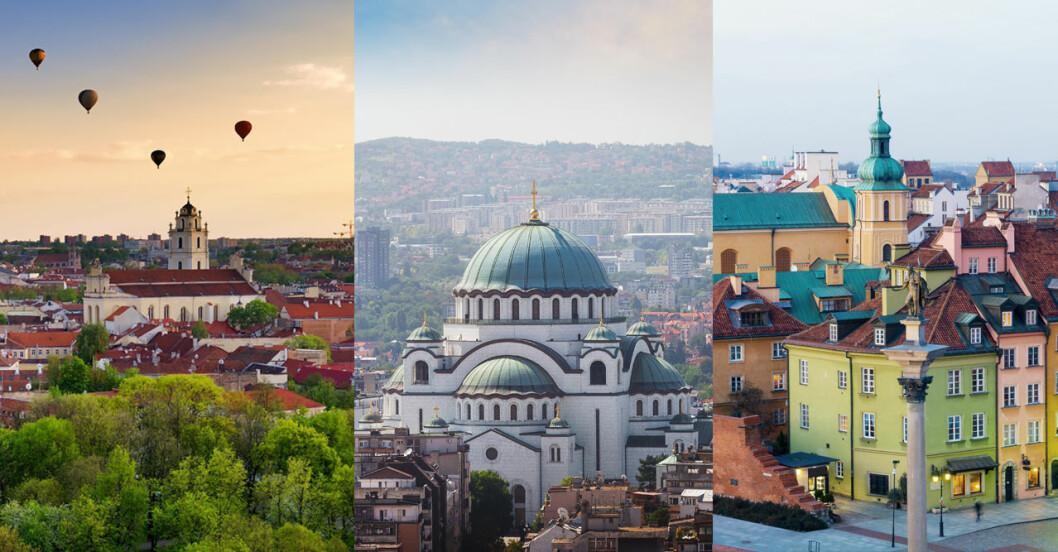 Vilnius, Belgrad och Warsawa