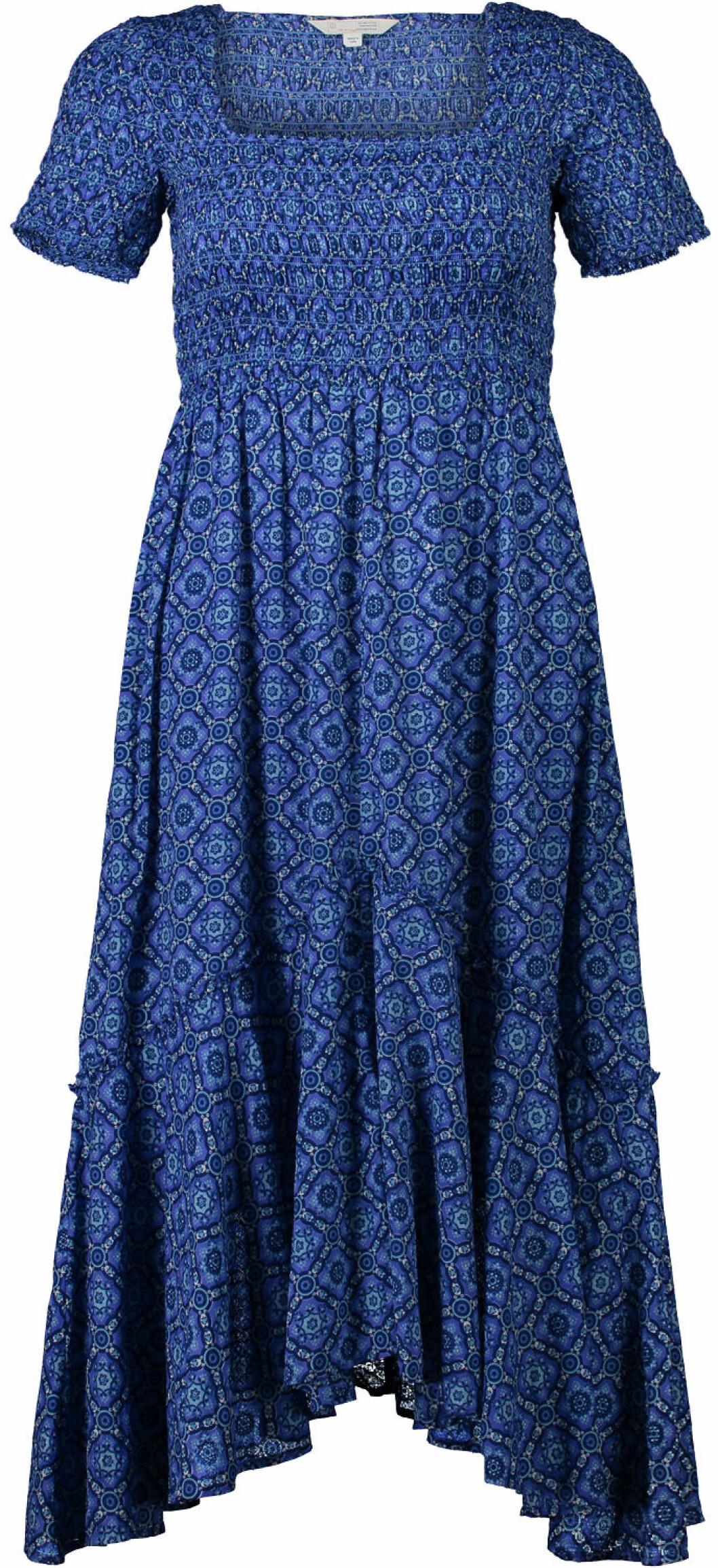 Blå maxiklänning med kort ärm