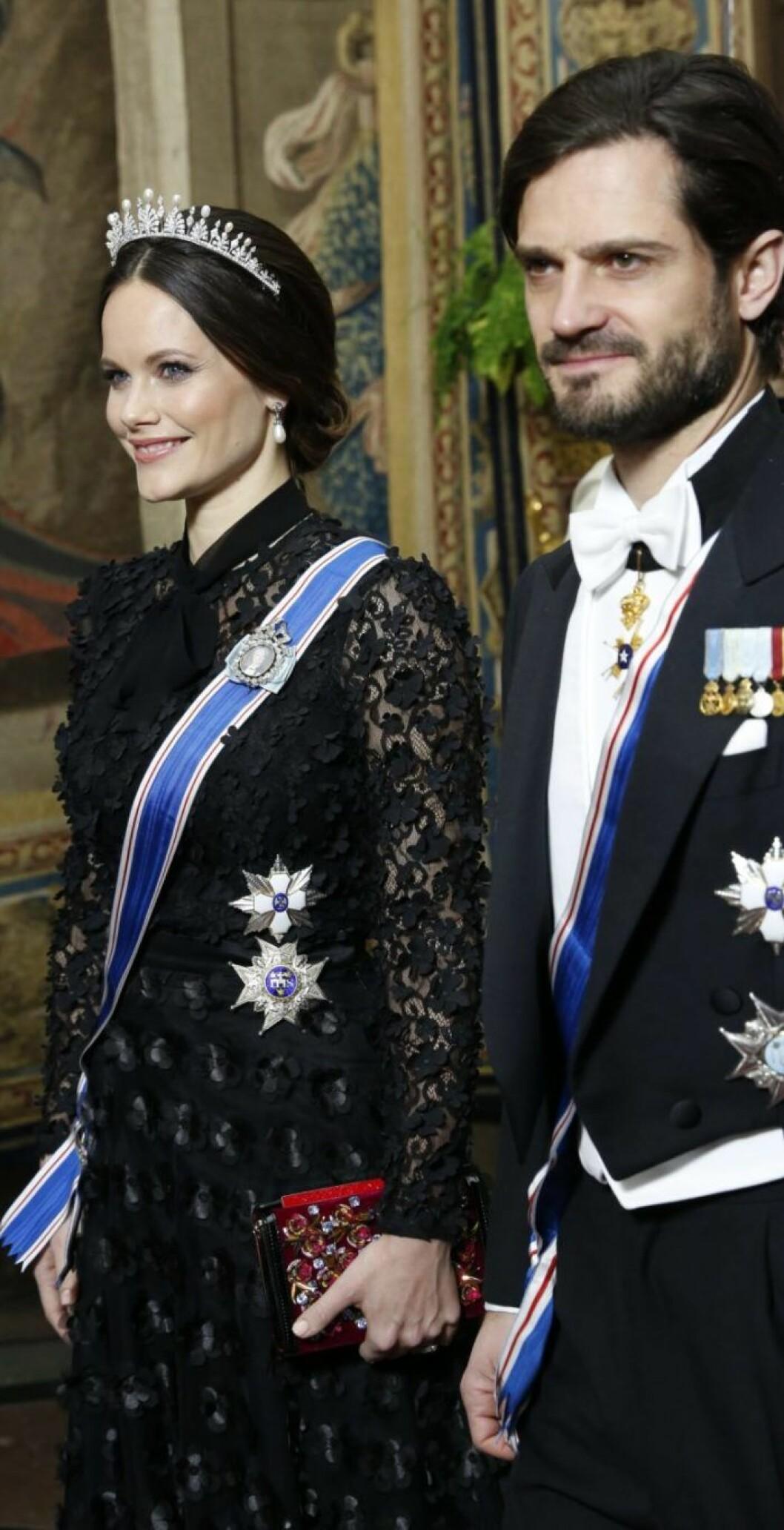 Sofia och Carl Philip på Slottet i på middagen som hölls i samband med det isländska statsbesöket i januari 2018.