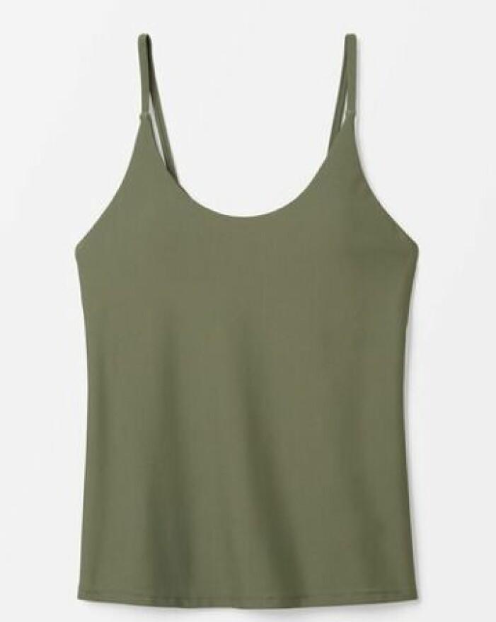 Militärgrön tankini med smala axelband. Tankini från Åhléns.