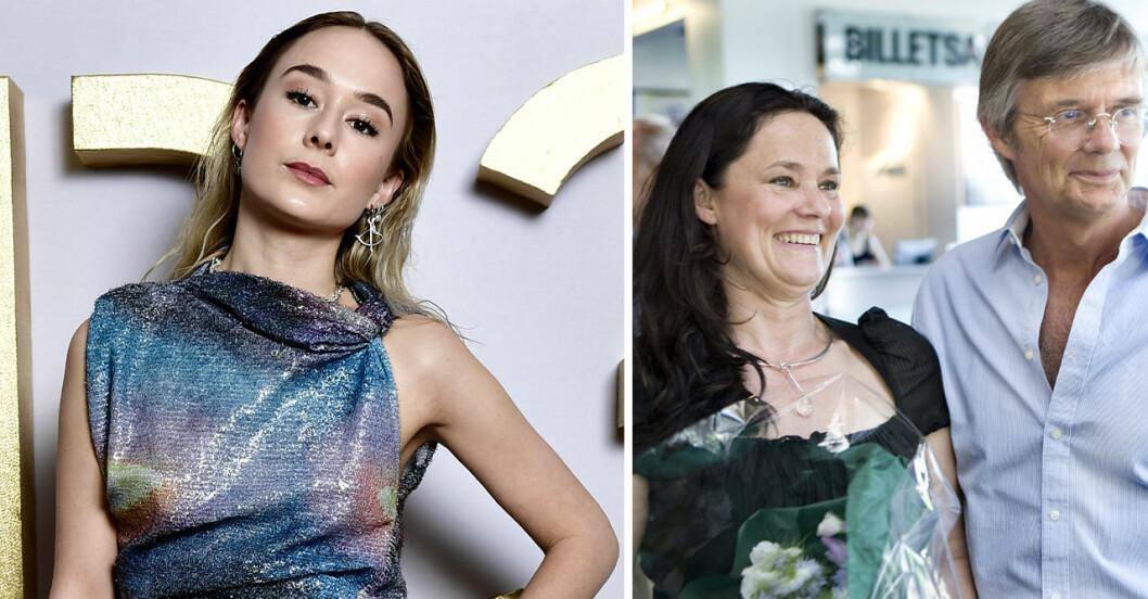Alba August uppklädd i glitter på 2021 års P3-guldgala. Och föräldrarna Pernilla och Bille August på bild 2.