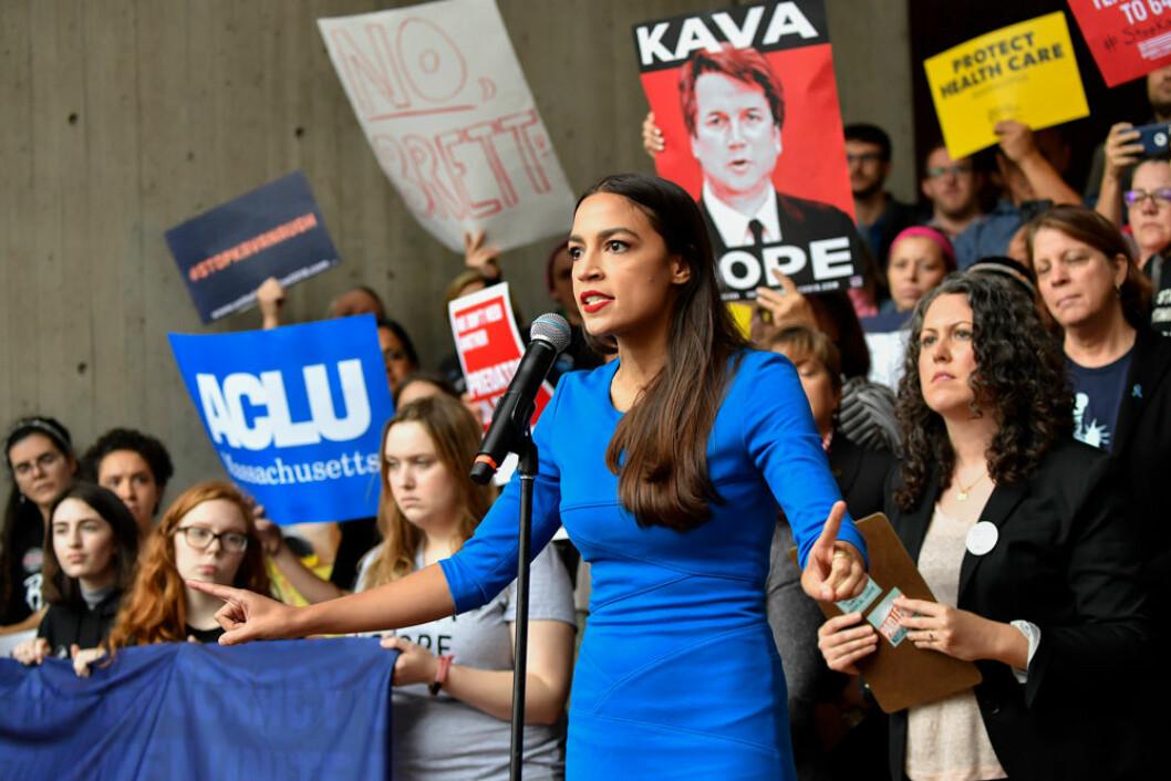 Alexandria Ocasio-Cortez som gjorde succé i valet 2018.