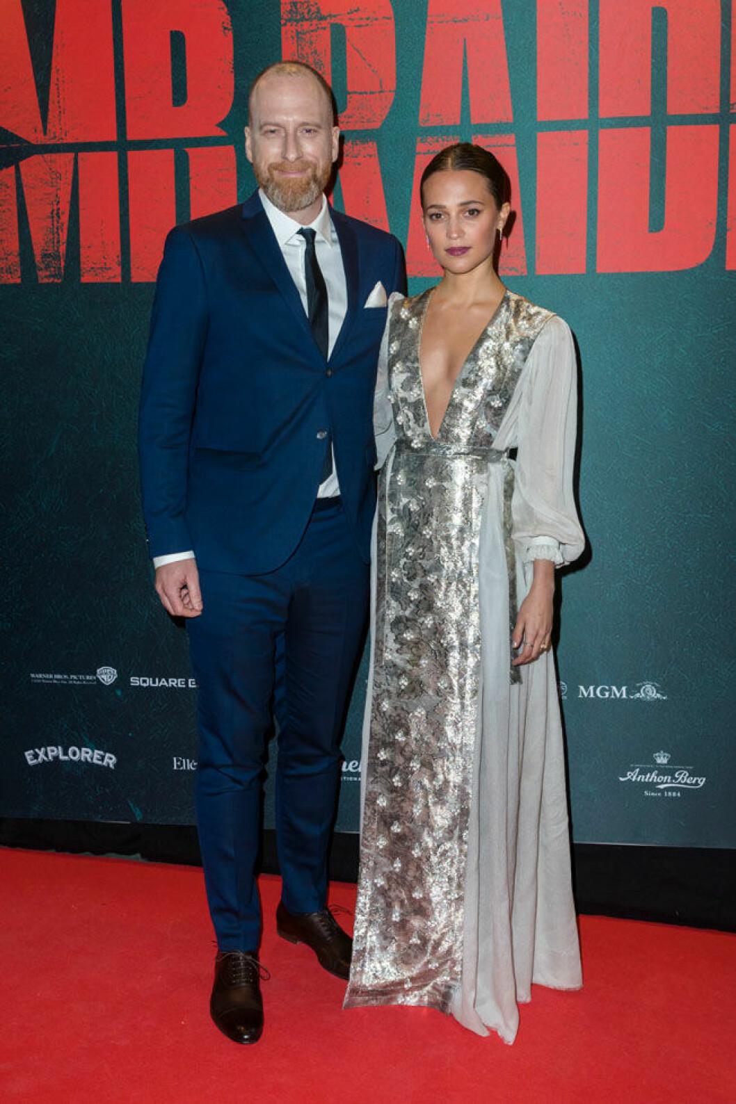 Alicia Vikander och regissören Roar Uthaug på galapremiären för Tomb Raider på Rigoletto