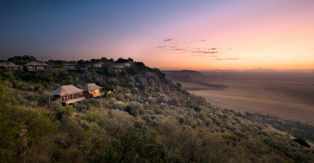 Vidsträckta vyer över savannen på resorten Angama Mara.