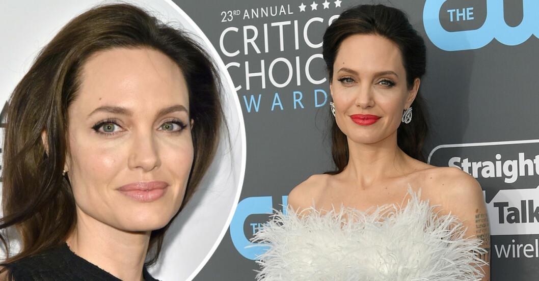 Två bilder på Angelina Jolie där hon ler