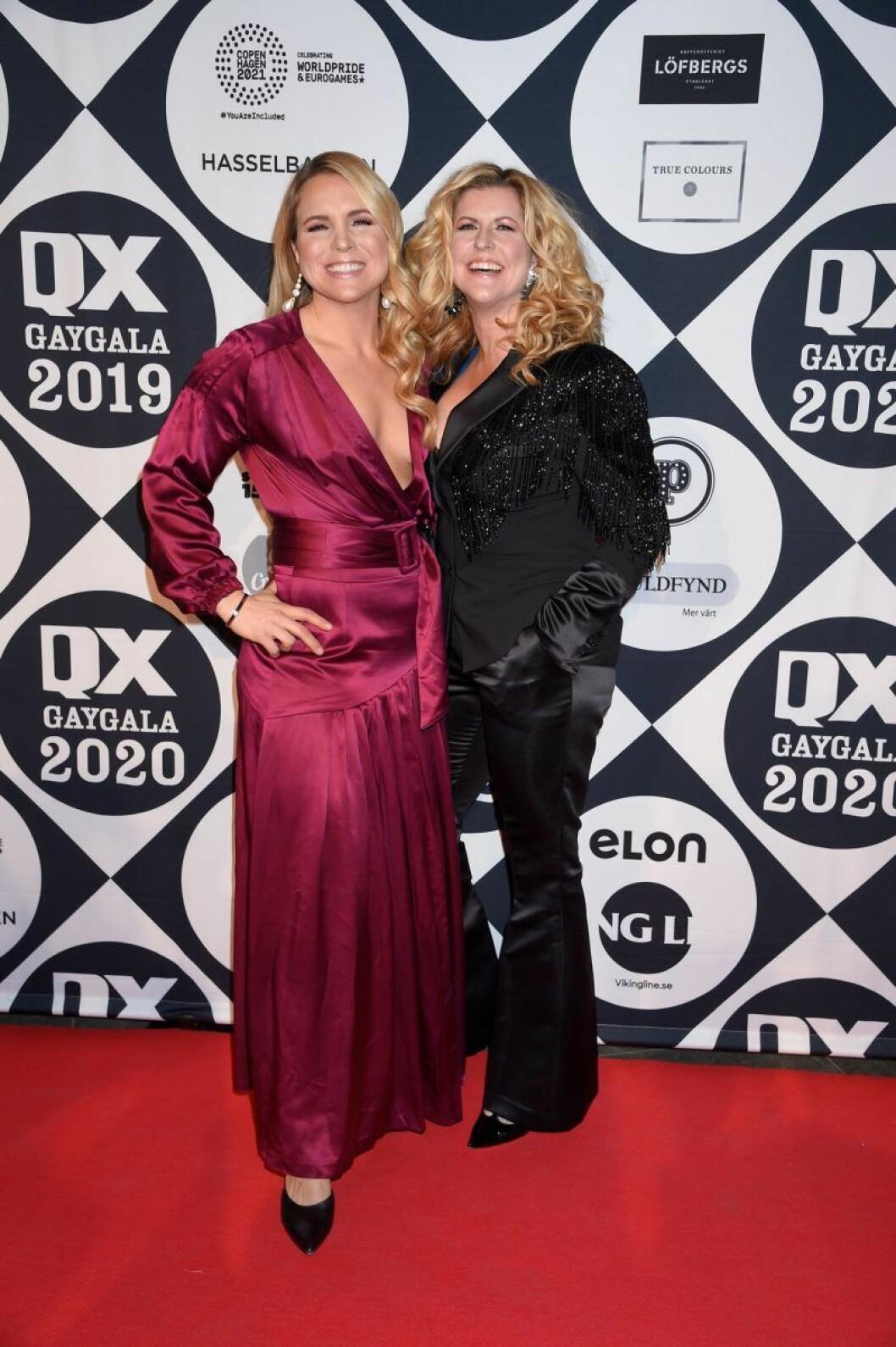 Anja Pärson och Filippa Rådin på röda mattan på QX-galan 2020