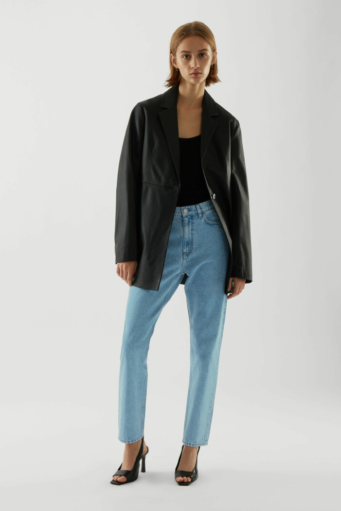 outfits med jeans och skinnkavaj