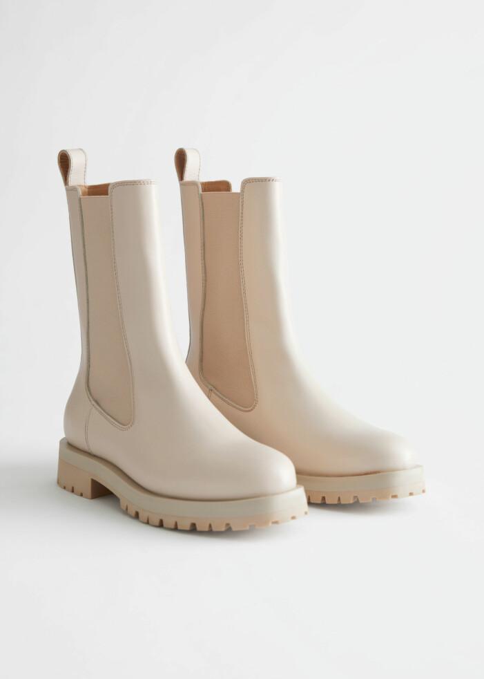 Höga beige boots från & other stories