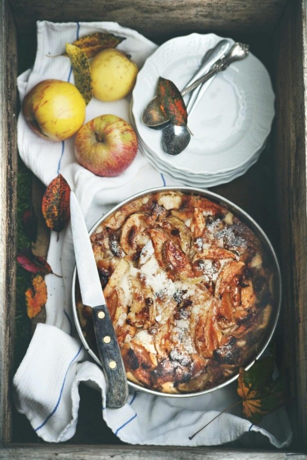 Mjuk äppelkaka med pelargon