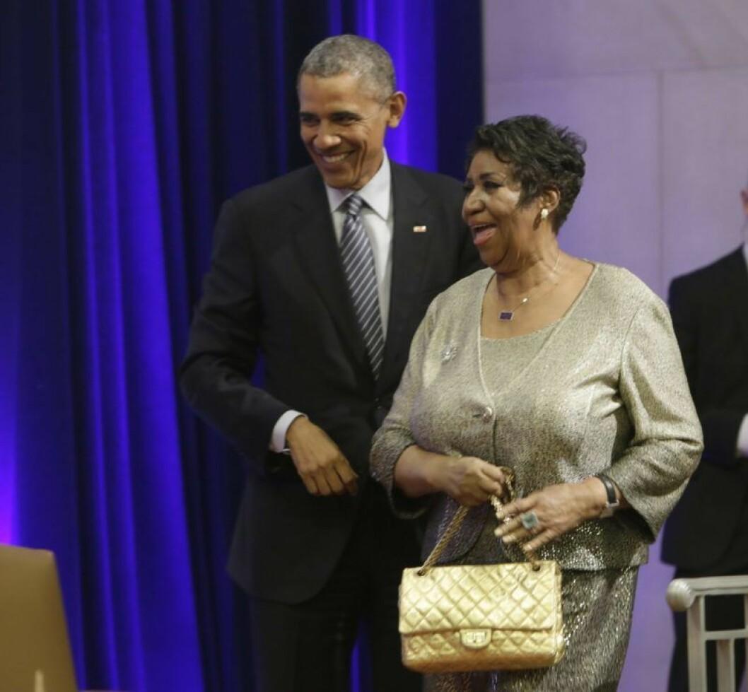 Obama och Aretha 2015.