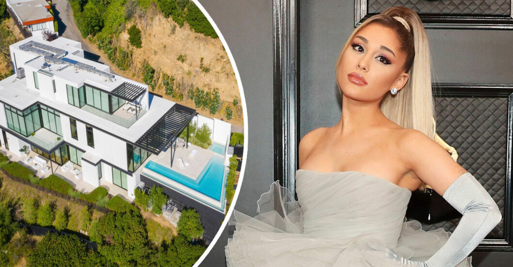 en bild på ett stort hus i vitt och en bild på Ariana Grande i grå klänning och hästsvans