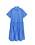 Klarblå skjortklänning med korta, vida ärmar och knappar. Så kallad däckmönstrad nertill, volangliknande. Klänning från Arket.