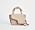 Beige handväska i skinn i mindre modell. Med tvinnat handtag och lång axelrem. Väska från Atp Atelier.