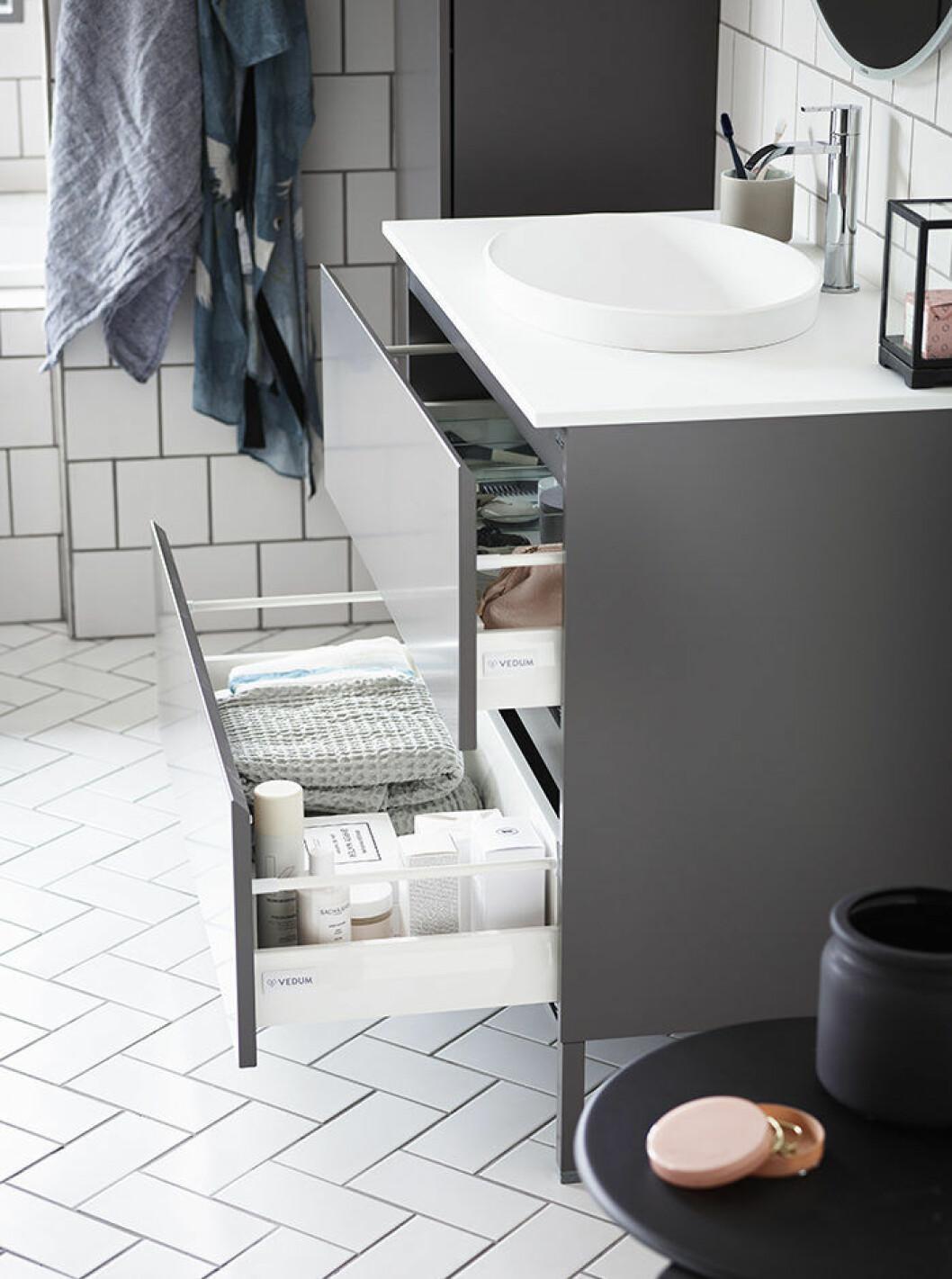 smart och snygg förvaring i badrummet