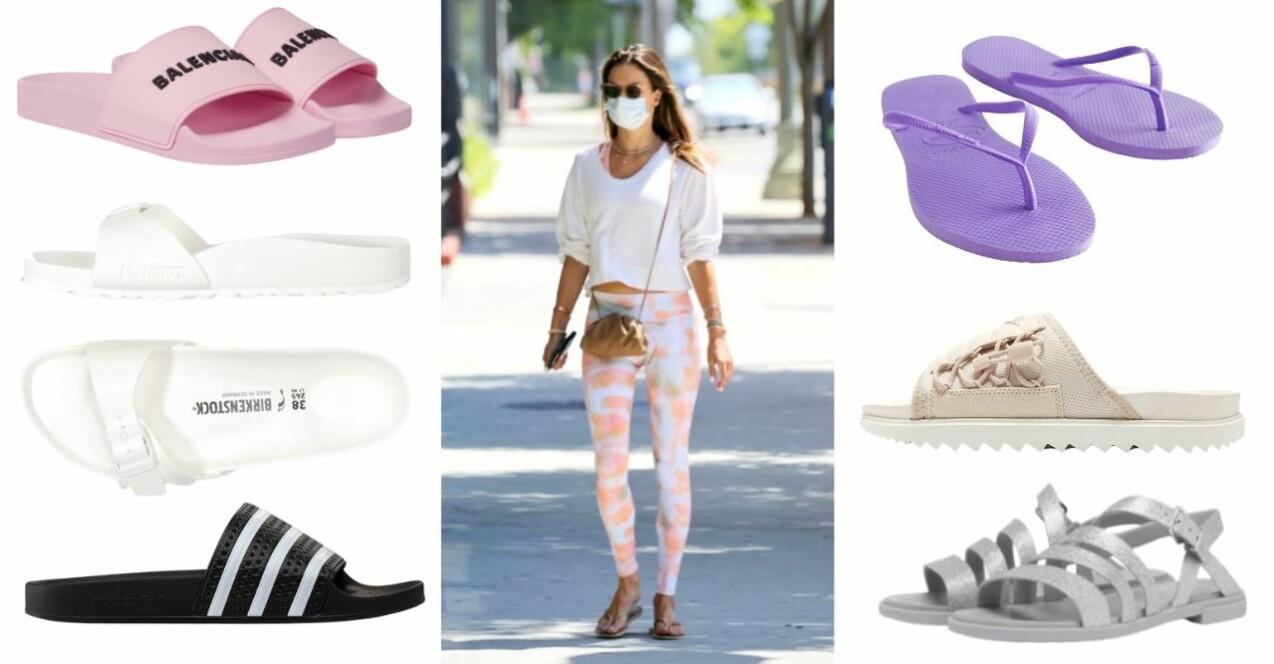 Alessandra Ambrosio i flipflops, tights och sweatshirt. Hon har munskydd framför ansiktet och solglasögon.