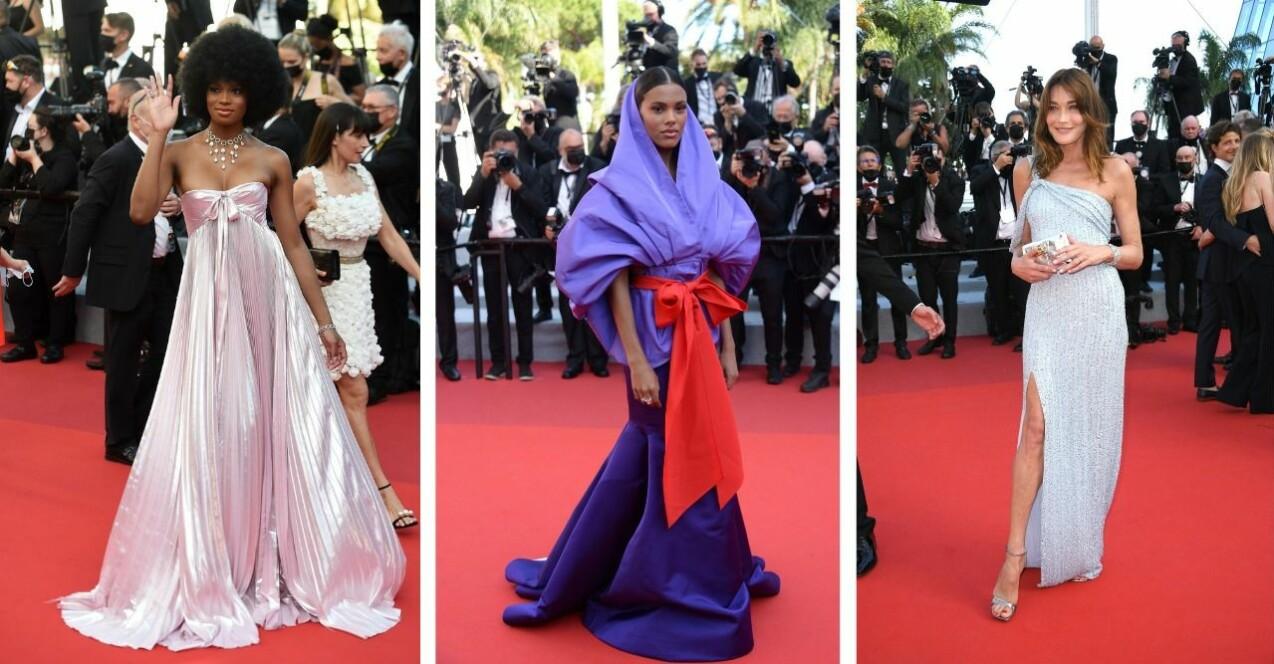 Bilder från röda mattan på Cannes filmfestival. Från vänster: Didi Stone, Tina Kunakey och Carla Bruni.