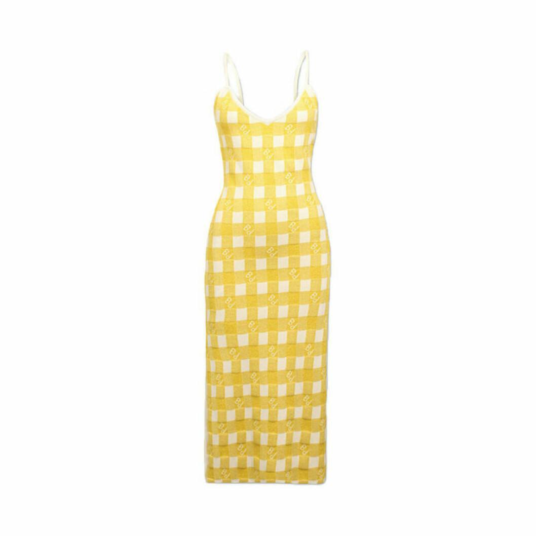 Gul rutig klänning