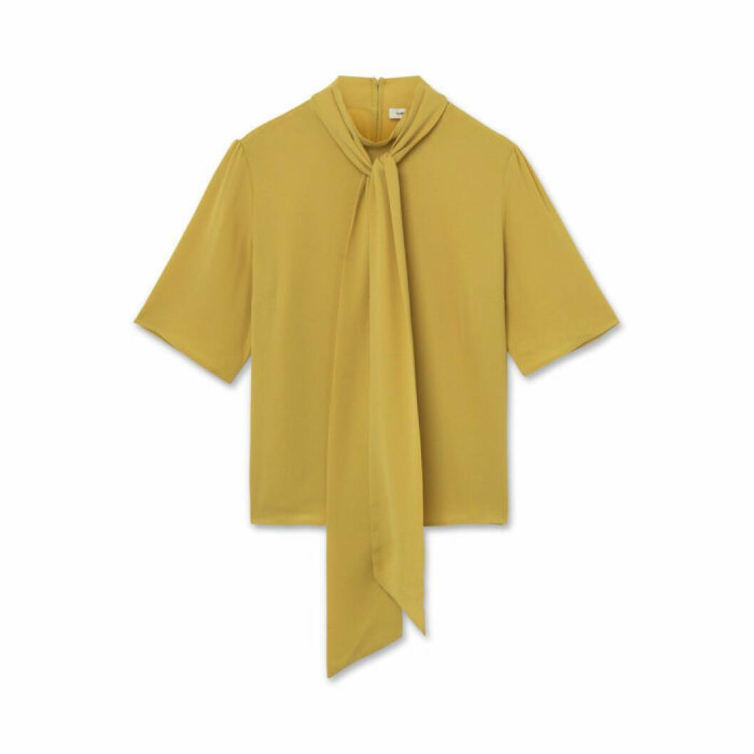 Senapsgul blus med knytband