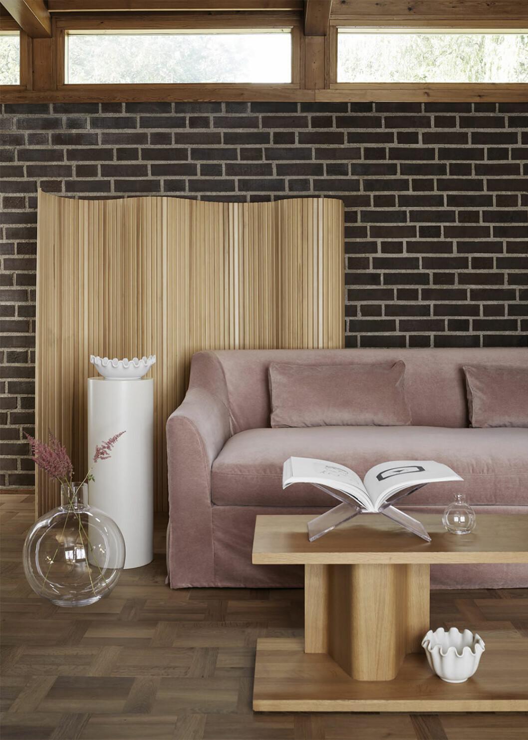 Överdrag till Ikea-soffa i rosa sammet från Bemz
