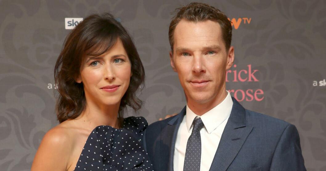 Benedict Cumberbatch tillsammans med sin hustru, regissören Sophie Hunter.