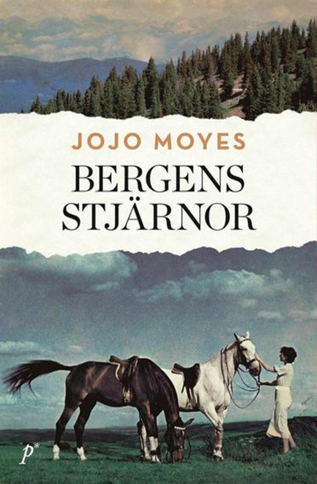 Bokomslag till Bergens stjärnor, en kvinna står vid två hästar.