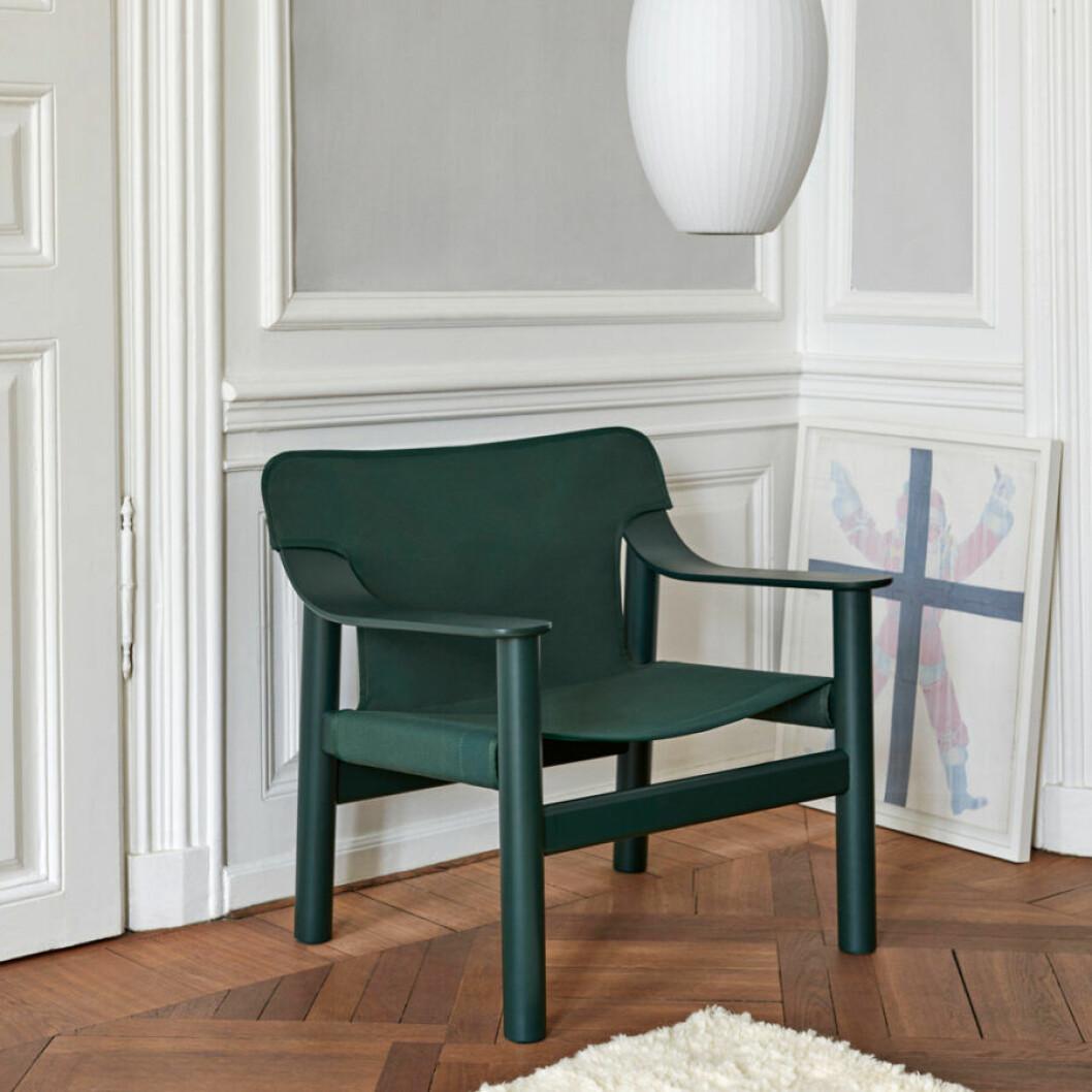 Läderstol i grönt Bernard