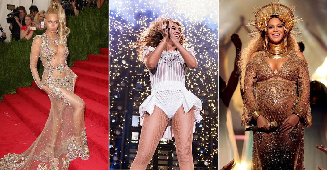 Beyonce på scen och röda mattan.