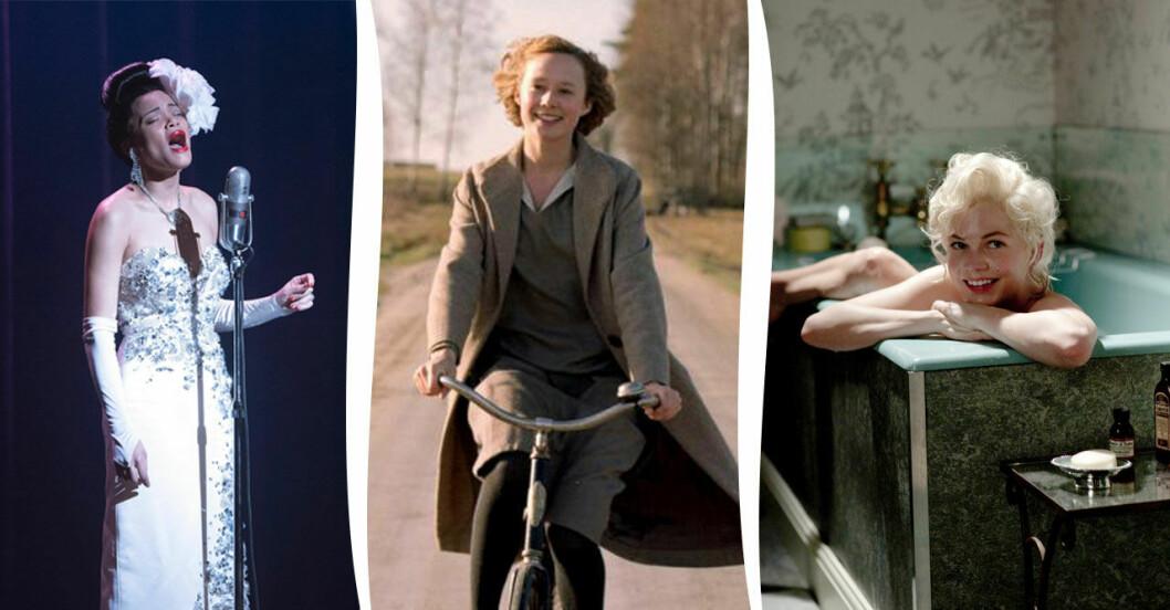 Andra Day som Billie Holiday, Alba August som Astrid Lindgren och Michelle Williams som Marilyn Monroe.