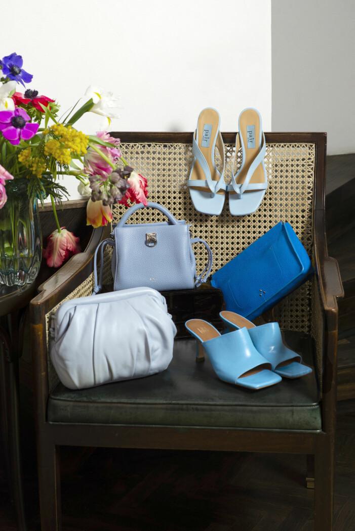 Blå accesoarer sandaletter och väskor från apair, &other stories, Mulberry.