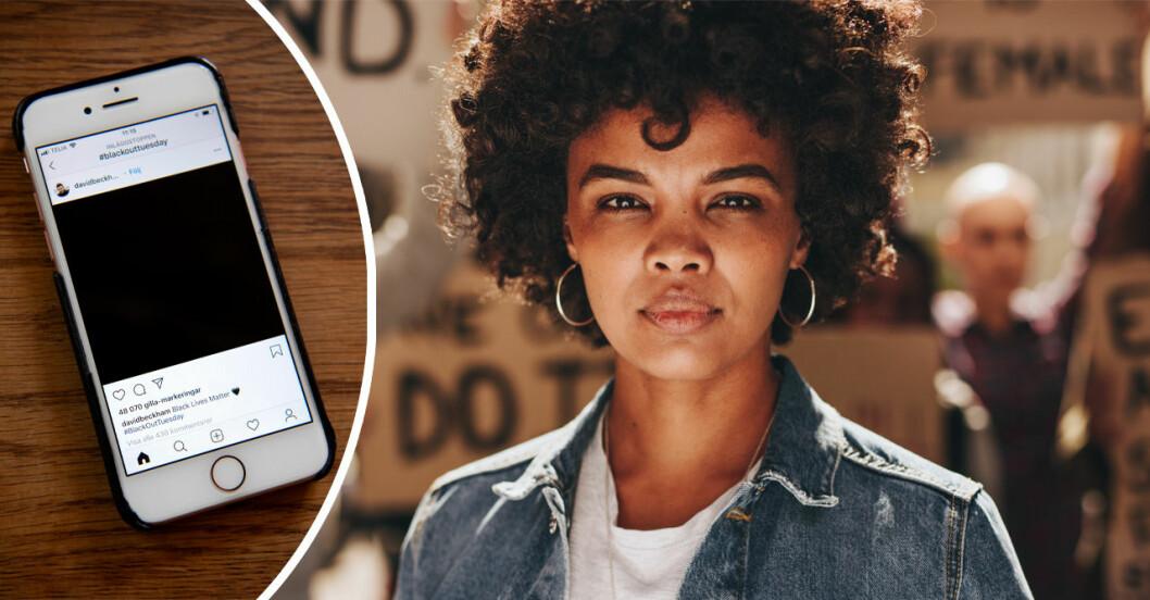 Svart kvinna protesterar och en mobiltelefon med en svart ruta