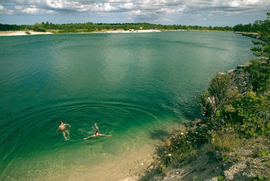 Kalkbrottet Blå lagunen på Gotland.