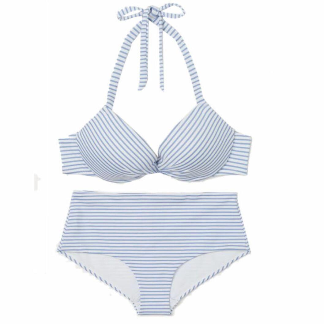 Blåvitrandig bikini i halterneck-modell från H&M