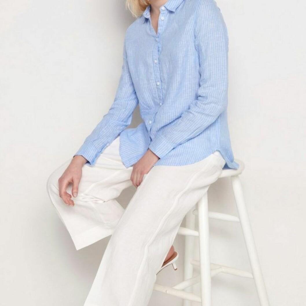 Blåvitrandig linneskjorta från Lindex