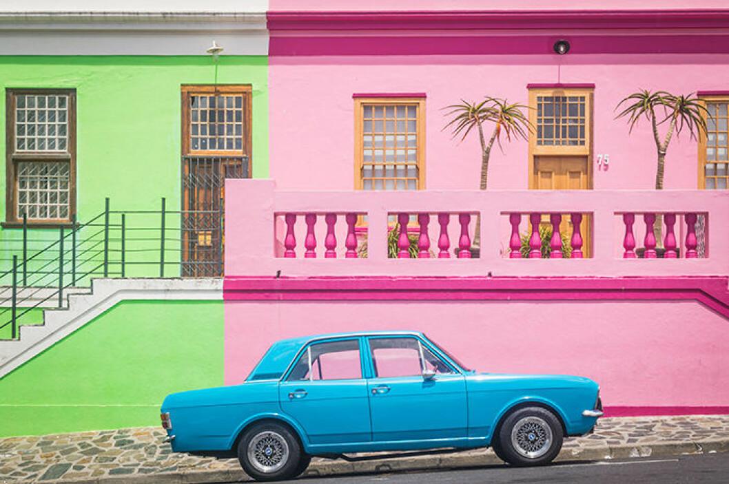 Bo-Kaap i Kapstaden, Sydafrika är färgglatt