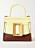 Gul och brun väska i skinn med oversizat spänne på. Väska från Boyy.