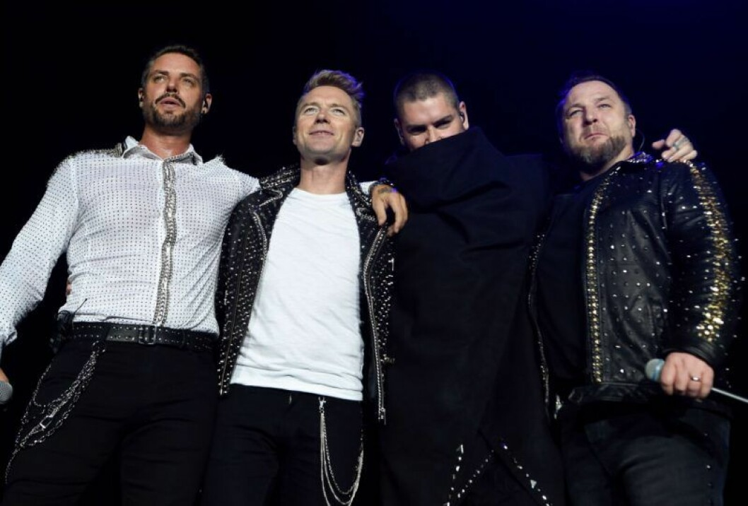 Boyzone, utan Stephen Gately, på turnén förra året.