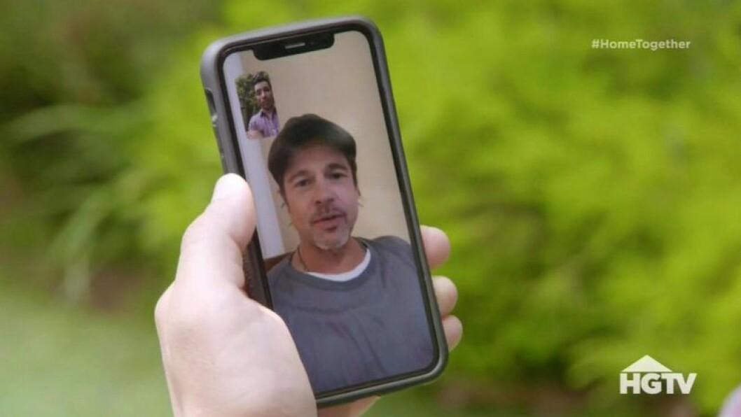 Brad Pitt dyker upp på en telefonskärm