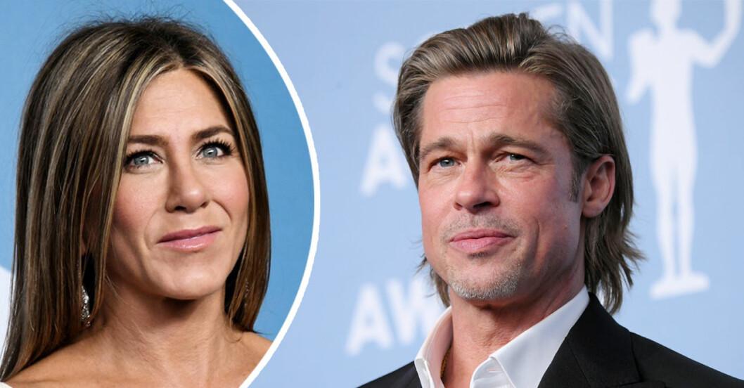 Jennifer Aniston och Brad Pitt i en splitbild