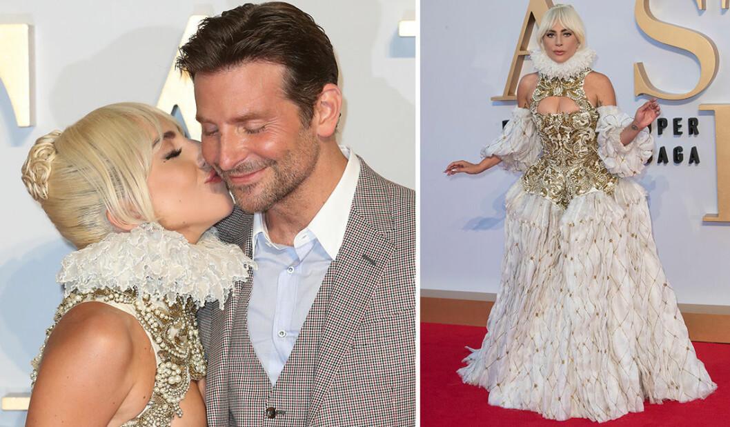 Bradley Cooper och Lady Gaga på röda mattan inför premiären av filmen