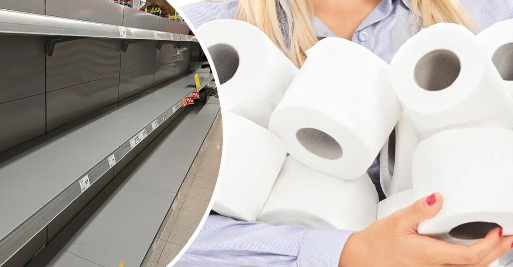 Kvinna med toalettpapper och tomma hyllor